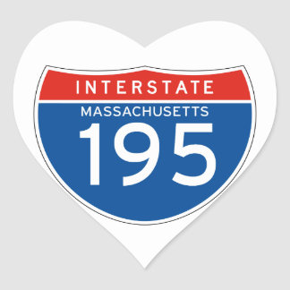 Interstate Sign 195 - Massachusetts Heart Sticker
