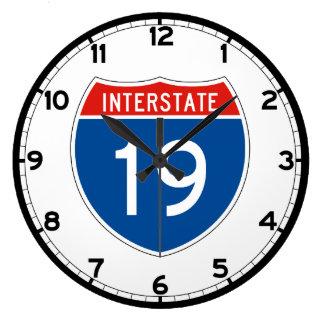 Interstate Sign 19 Large Clock
