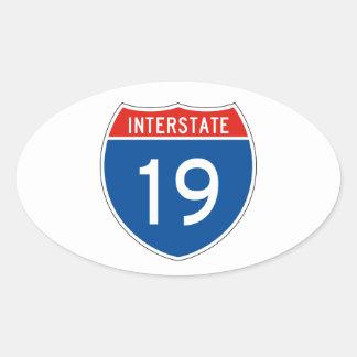 Interstate Sign 19 Oval Sticker