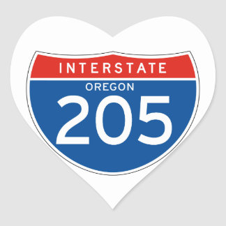 Interstate Sign 205 - Oregon Heart Sticker