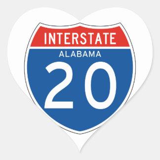 Interstate Sign 20 - Alabama Heart Sticker