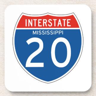 Interstate Sign 20 - Mississippi Drink Coaster