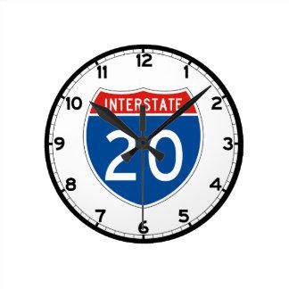 Interstate Sign 20 Round Clock