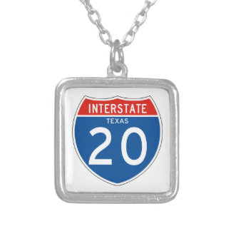 Interstate Sign 20 - Texas Square Pendant Necklace