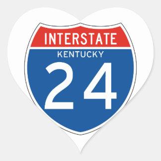 Interstate Sign 24 - Kentucky Heart Sticker