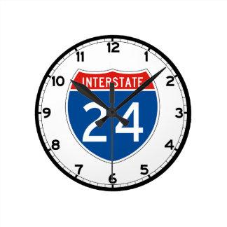 Interstate Sign 24 - Tennessee Round Clock