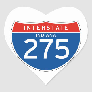 Interstate Sign 275 - Indiana Heart Sticker