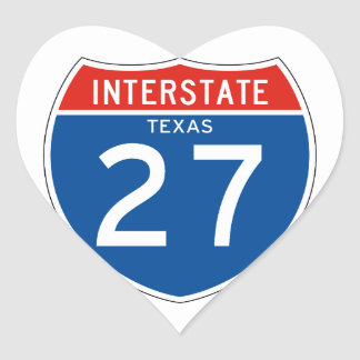 Interstate Sign 27 - Texas Heart Sticker