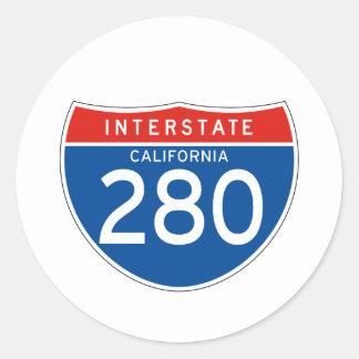 Interstate Sign 280 - California Classic Round Sticker