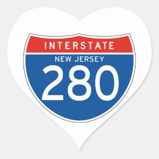 Interstate Sign 280 - New Jersey Heart Sticker