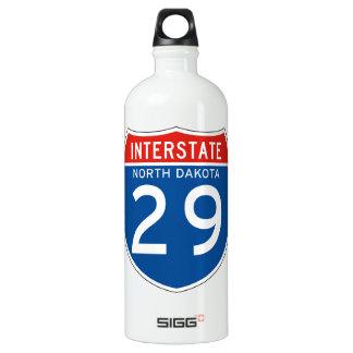 Interstate Sign 29 - North Dakota Aluminum Water Bottle