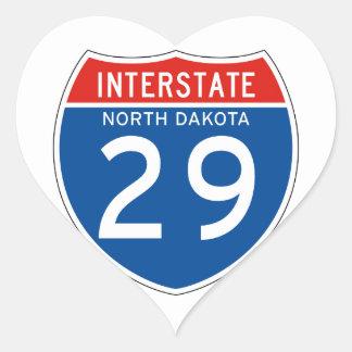 Interstate Sign 29 - North Dakota Heart Sticker