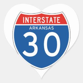 Interstate Sign 30 - Arkansas Heart Sticker