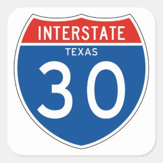 Interstate Sign 30 – Texas Square Sticker