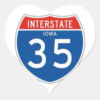Interstate Sign 35 - Iowa Heart Sticker