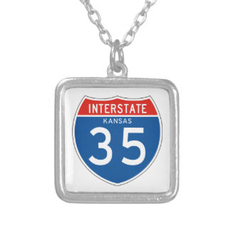 Interstate Sign 35 - Kansas Necklace