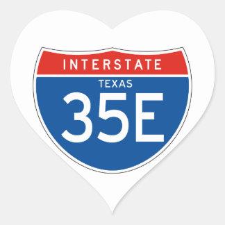 Interstate Sign 35E - Texas Heart Sticker