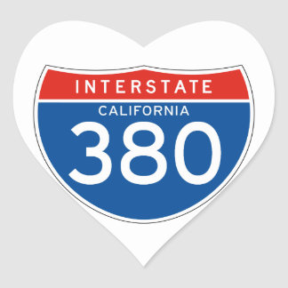 Interstate Sign 380 - California Heart Sticker