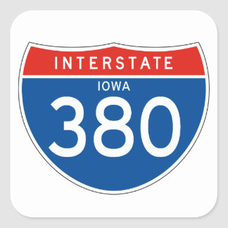 Interstate Sign 380 - Iowa Square Sticker