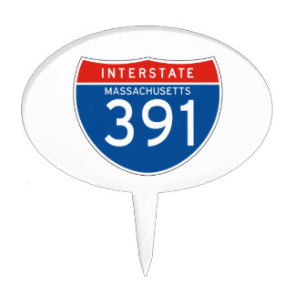 Interstate Sign 391 - Massachusetts Cake Toppers