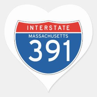 Interstate Sign 391 - Massachusetts Heart Sticker