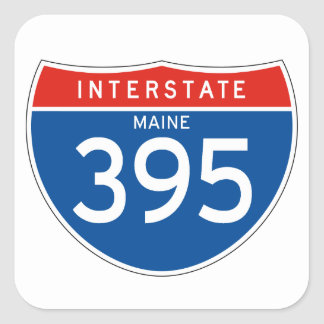 Interstate Sign 395 - Maine Square Sticker