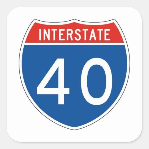 Interstate sign 40 square sticker zazzle