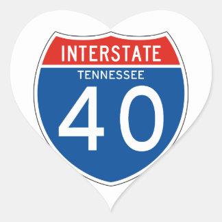 Interstate Sign 40 - Tennessee Heart Sticker