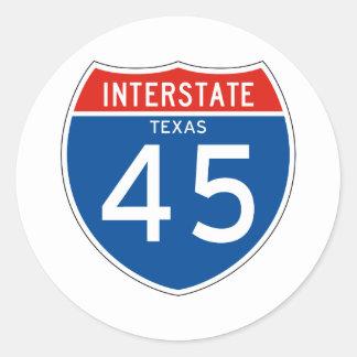 Interstate Sign 45 - Texas Classic Round Sticker