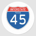 Interstate Sign 45 - Texas Stickers