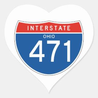 Interstate Sign 471 - Ohio Heart Sticker