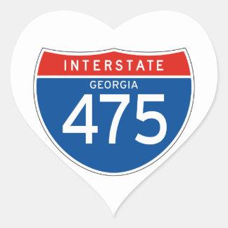 Interstate Sign 475 - Georgia Heart Sticker