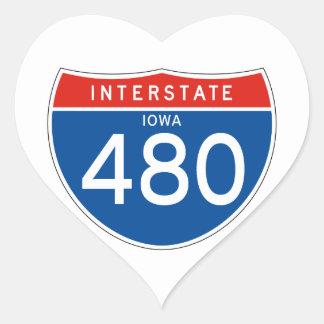 Interstate Sign 480 - Iowa Heart Sticker