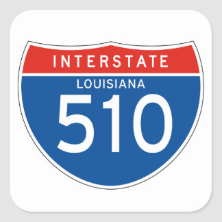 Interstate Sign 510 - Louisiana Square Sticker
