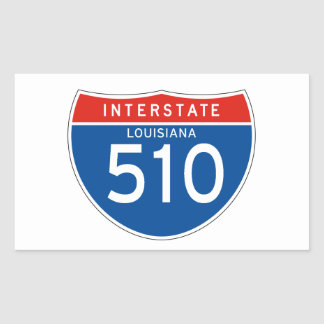 Interstate Sign 510 - Louisiana Rectangular Sticker