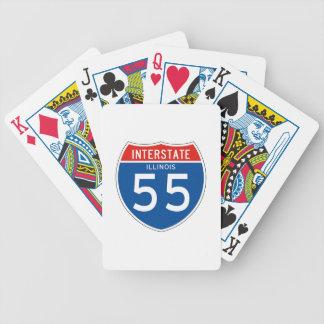 Interstate Sign 55 – Illinois Bicycle Card Decks