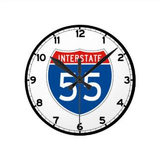 Interstate Sign 55 – Illinois Round Clock