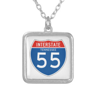 Interstate Sign 55 - Tennessee Square Pendant Necklace