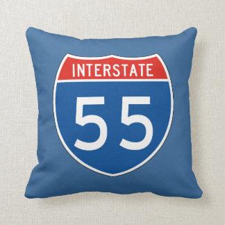 Interstate Sign 55 Throw Pillows