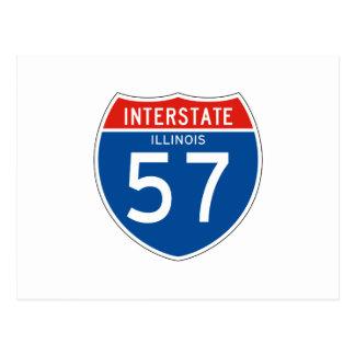 Interstate Sign 57 - Illinois Postcard