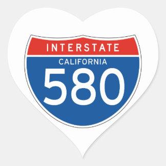 Interstate Sign 580 - California Heart Sticker
