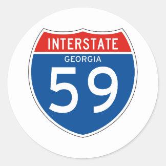 Interstate Sign 59 - Georgia Round Stickers