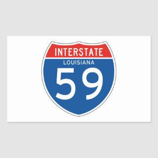 Interstate Sign 59 - Louisiana Rectangle Sticker