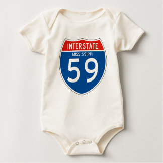 Interstate Sign 59 - Mississippi Baby Bodysuit