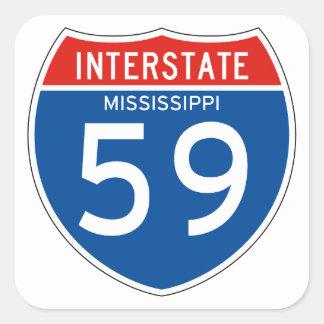 Interstate Sign 59 - Mississippi Square Sticker