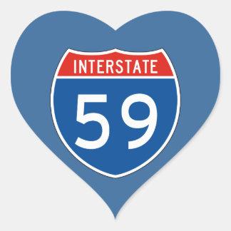 Interstate Sign 59 Heart Sticker