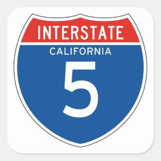 Interstate Sign 5 - California Pegatina Cuadrada