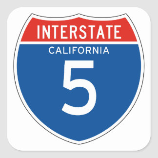 Interstate Sign 5 - Californian Square Sticker