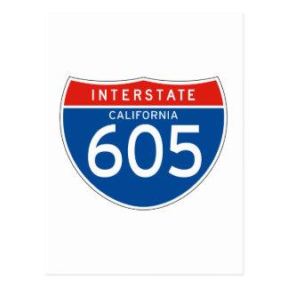 Interstate Sign 605 - California Postcard