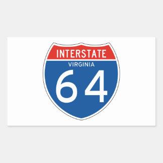 Interstate Sign 64 - Virginia Rectangular Sticker